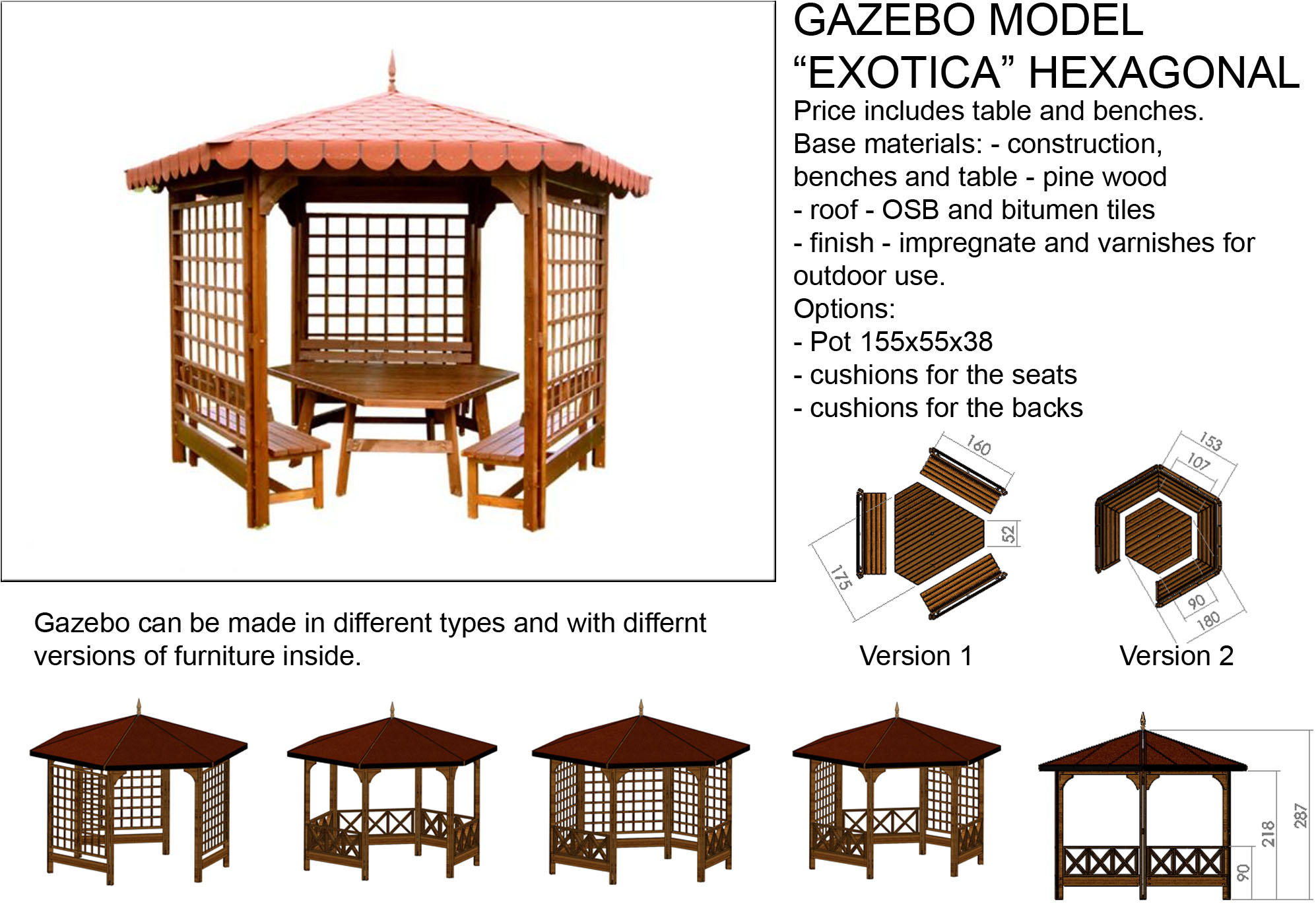 Gazebo Exotica Hexagonal