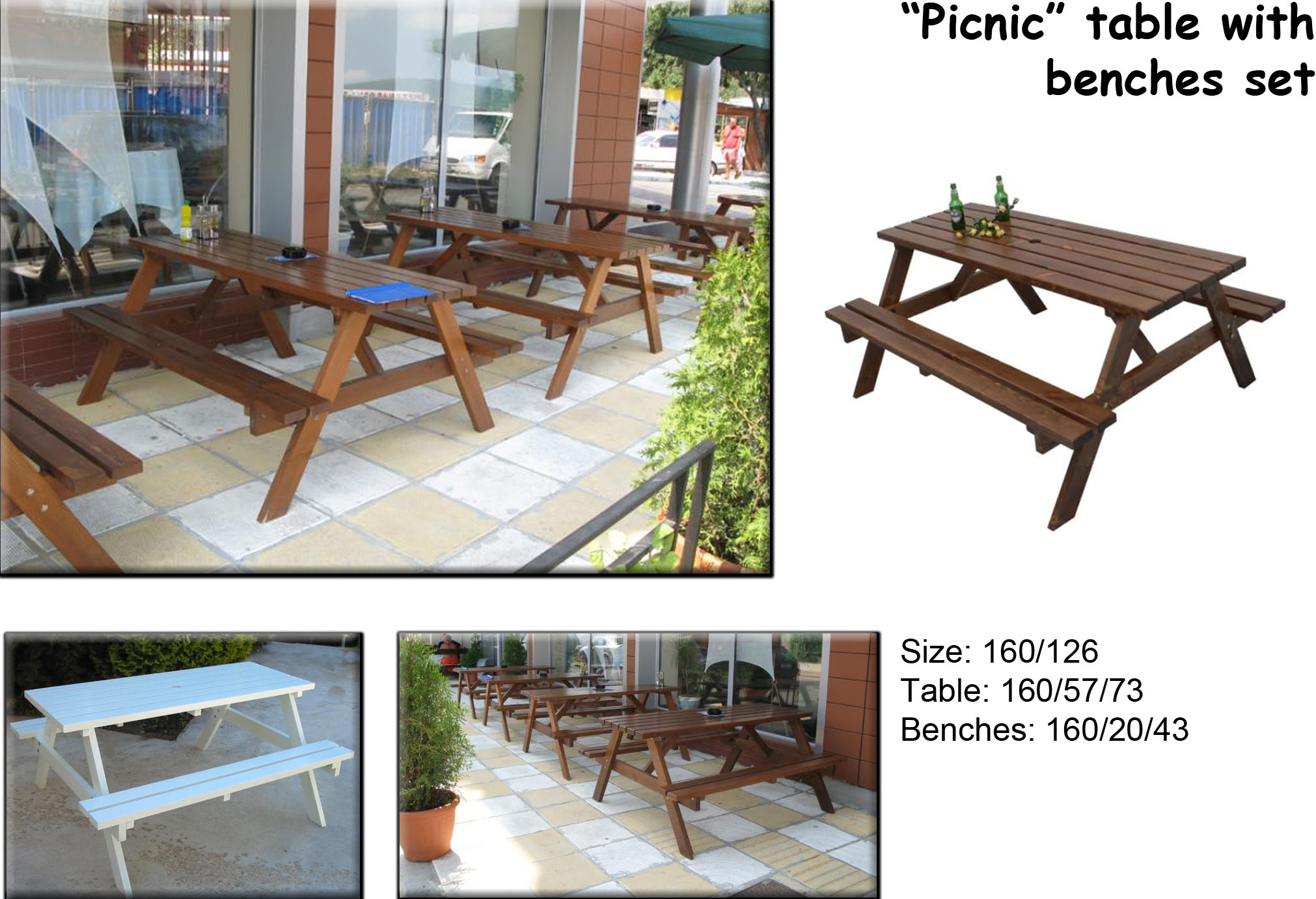Table With Benches Set Picnic